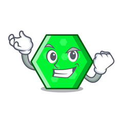 Successful octagon character cartoon style vector