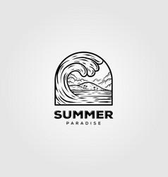 Summer surf vintage line art logo ocean wave vector