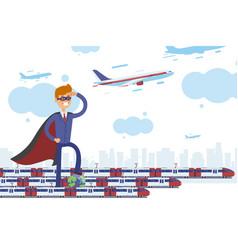 superhero transportation planet care business vector image