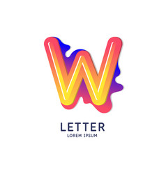 The letter w latin alphabet display vector