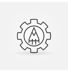Thin line pencil in gear icon vector image
