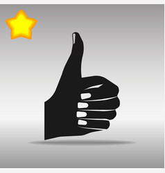 Thumb up black icon button logo symbol vector