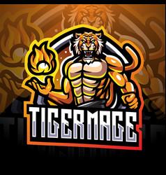 tiger mage esport mascot logo design vector image