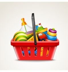 Toys in shopping basket vector image