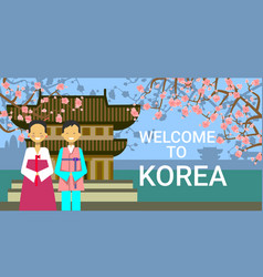 travel to south korea poster korean coupe wear vector image