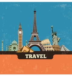 Travel world landmark background vector