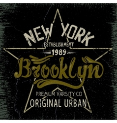 Vintage label with Brooklyn City design vector