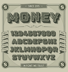 Vintage Money Font with shadow vector image