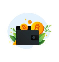 virtual wallet with bitcoin in template vector image