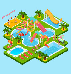 Water park aquapark isometric composition vector