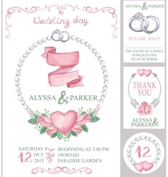 Watercolor wedding invitation setPink roses vector image