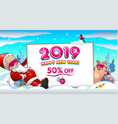 winter sale invitation banner with santa and pig vector image