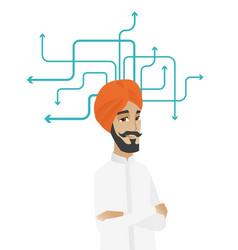 Young hindu businessman thinking vector