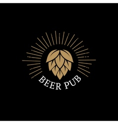Beer Pub hand drawn lettering logo label badge for vector image