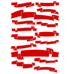 set of fifteen red cartoon ribbons and banners for vector image vector image