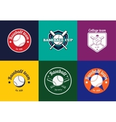 Set of vintage color baseball championship logos vector image