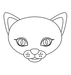 silhouette picture face cute cat animal vector image