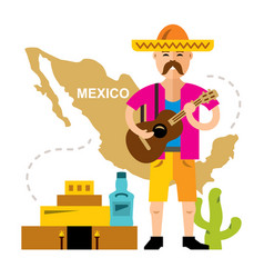 travel concept mexico flat style colorful vector image vector image