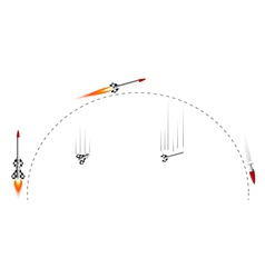 two-stage rocket flight cycle vector image vector image