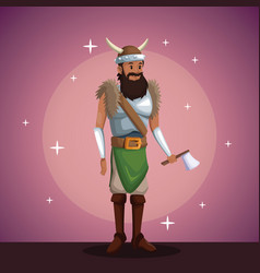 Viking man costume party in spotlight background vector