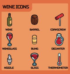 wine outline color isometric icons vector image vector image