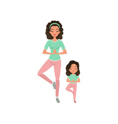 young curly-haired mother with daughter doing yoga vector image vector image