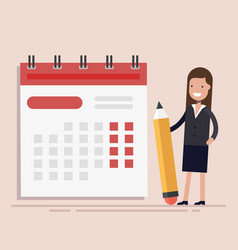 businesswoman with pen and calendar planning and vector image