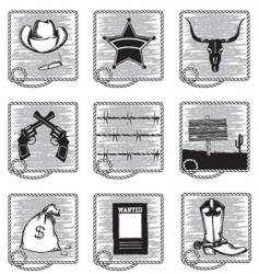 cowboy icons vector image vector image