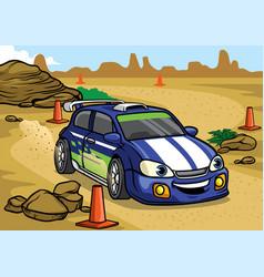 cartoon rally car drive in the desert vector image vector image