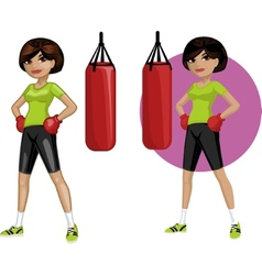 Cute young Indonesian woman boxer vector image vector image