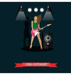 Girl Guitarist playing electric guitar on stage vector image