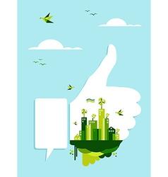 Go green thumb up hand vector image vector image
