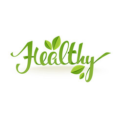 healthy and organic green glossy leaves and vector image