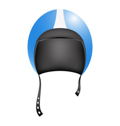 retro motorcycle helmet in blue and white design vector image vector image