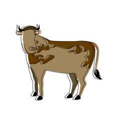 cow animal farm agriculture side view vector image vector image