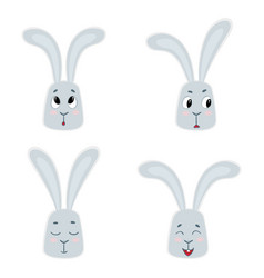 set of cute rabbits funny little bunny vector image