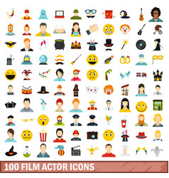 100 film actor icons set flat style vector