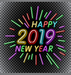 2019 happy new year neon text template for vector image