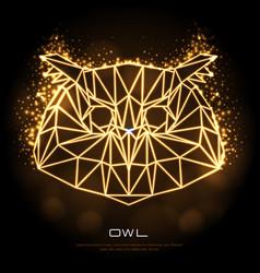 Abstract polygonal tirangle animal owl neon sign vector