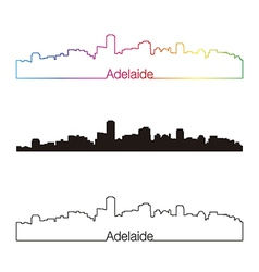 Adelaide skyline linear style with rainbow vector
