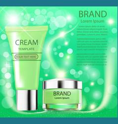 Advertising cosmetics cream sparkling background vector