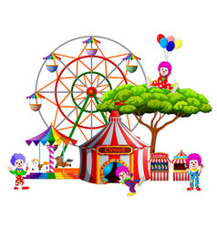 An awasome circus with so many clown around it vector