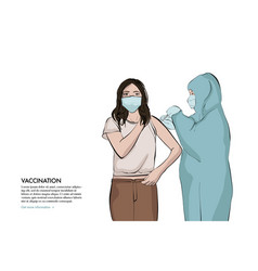 Anaesthetist making arm injection to girl anti vector