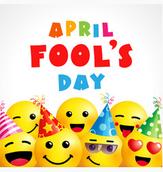 april fools day greeting card with smile emoji vector image