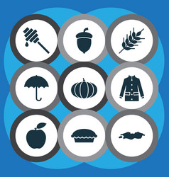 autumn icons set with puddle umbrella wheat and vector image
