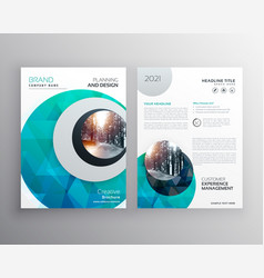 Blue brochure flyer cover page template for vector