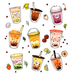 bubble tea set isolated ice cold pearl milk tea vector image