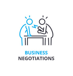 Business negotiations concept outline icon vector