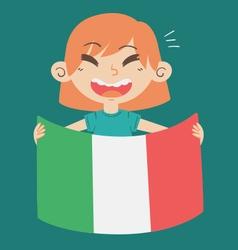 Cartoon Girl Holding an Italy Flag vector