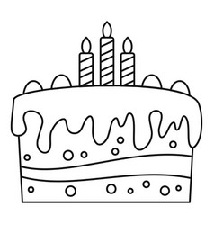 celebration cake icon outline style vector image